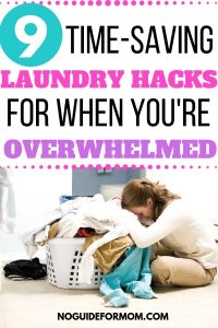 woman lying head on pile of laundry in basket