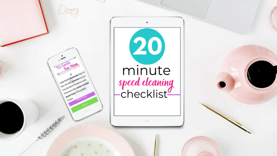 20 minute speed cleaning checklist on iPad sitting on desk