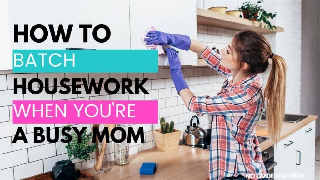 woman task batching cleaning the kitchen