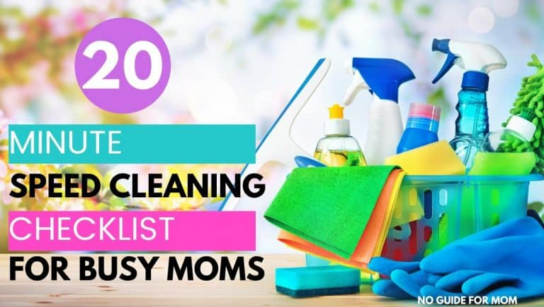 20 minute speed cleaning checklist for busy moms with cleaning supplies