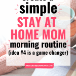 woman holding cup of coffee sitting in bed; create a simple stay at home mom morning routine (idea #4 is a game changer)