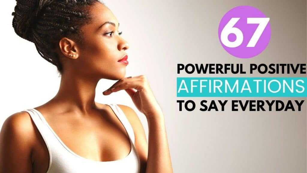 thoughtful woman; 67 powerful positive affirmations to say everyday